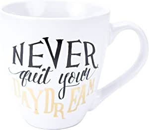 Boston Warehouse 12432 Never Quit Your Daydream 18 oz Stoneware Mug with Metallic Accents, White/Gold