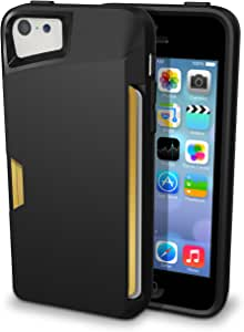 iPhone 5c Wallet Case - Slite Card Case for iPhone 5c by CM4 - Black Onyx- [Ultra Slim Protective iPhone Wallet]
