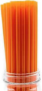 """美国制造,100 只特大号塑料冰沙(25.4 厘米 X 0.28 厘米)饮用吸管(FDA 批准,*,不含双酚 A) 橙色 Giant (10"""" X 0.31"""") S7056_ORG"""