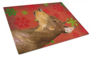 Caroline's Treasures SS4675LCB Doberman Red and Green Snowflakes Holiday Christmas Glass Cutting Board, Large, Multicolor