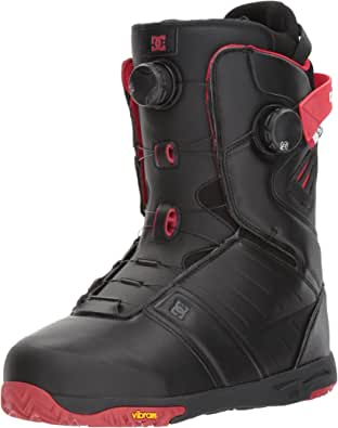 DC Men's Judge Dual Boa Snowboard Boots, 13, Black/Chili Pepper