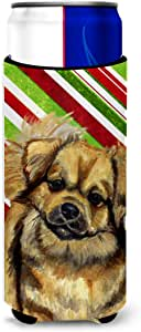 Tibetan Spaniel Candy Cane Holiday Christmas Michelob Ultra Koozies for slim cans LH9259MUK 多色 Slim