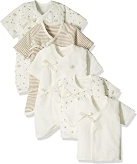 Skip House [*棉] 新生兒貼身內衣5件裝 蜜蜂圖案 50-60厘米 未經漂白布料 棉* RNB-16