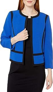 Kasper 女士弹力绉纱宝石领夹克,带滚边细节