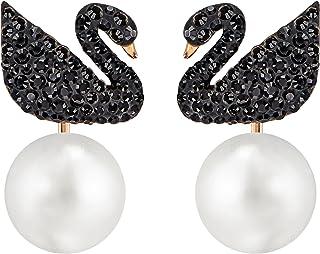 Swarovski iconic Swan 穿孔耳环夹克,黑色,玫瑰镀金