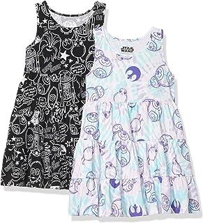 Amazon Brand - 斑马女孩迪士尼星球大战奇迹冰雪奇缘公主针织无袖分层连衣裙