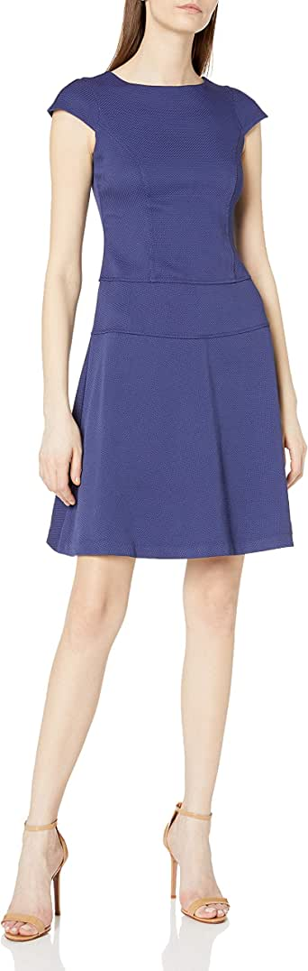 Lark & Ro Women's Cap-Sleeve Fit-and-Flare Dress
