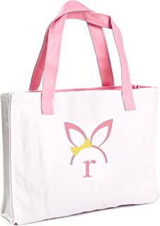 Cathy's Concepts Girls Easter Bunny Canvas Tote Bag, Monogrammed Letter R