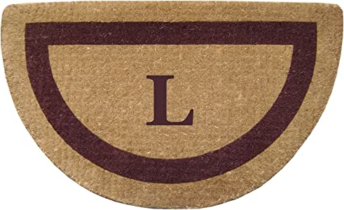 Creative Accents Single Picture Brown Frame Half Round Heavy Duty Coir Doormat, 22 by 36-Inch, Monogrammed L