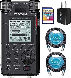 TASCAM DR-100MKIII 192kHz/24 位立体声便携式录音机套装,含 16GB SDHC 存储卡,Blucoil USB 壁式适配器和 2 包 10 英尺平衡 XLR 电缆