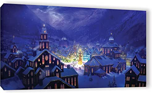 """ArtWall Philip Straub's Christmas Town Gallery Wrapped Canvas, 12 x 24"""""""