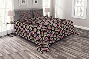 Ambesonne 多色床罩,多种尺寸可选 Black Fuchsia Queen bed_10081_queen