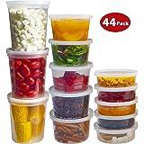 DuraHome 食品保鲜盒带盖,8 盎司,16 盎司,32 盎司冷冻喂食杯组合装,44 套不含 BPA 的防漏圆形透明吸尘容器Meal Prep 可微波加热 透明 44 Sets - Mixed sizes 01671