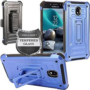 三星 Galaxy J7 (2018),J7 Refine,J7 Star,J7 Crown,J7 Aura,J7 V J7V *二代 J737 - 混合式手机壳带支架/皮带扣皮套 + 钢化玻璃屏幕保护膜 ST3 Black/Navy Blue