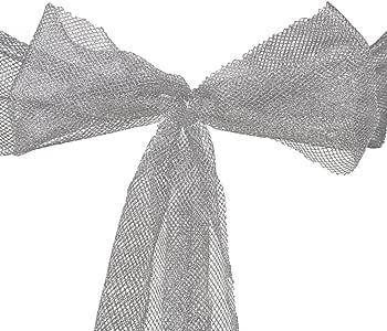 LinenTablecloth Metallic Mesh Sash (10-Piece) Silver