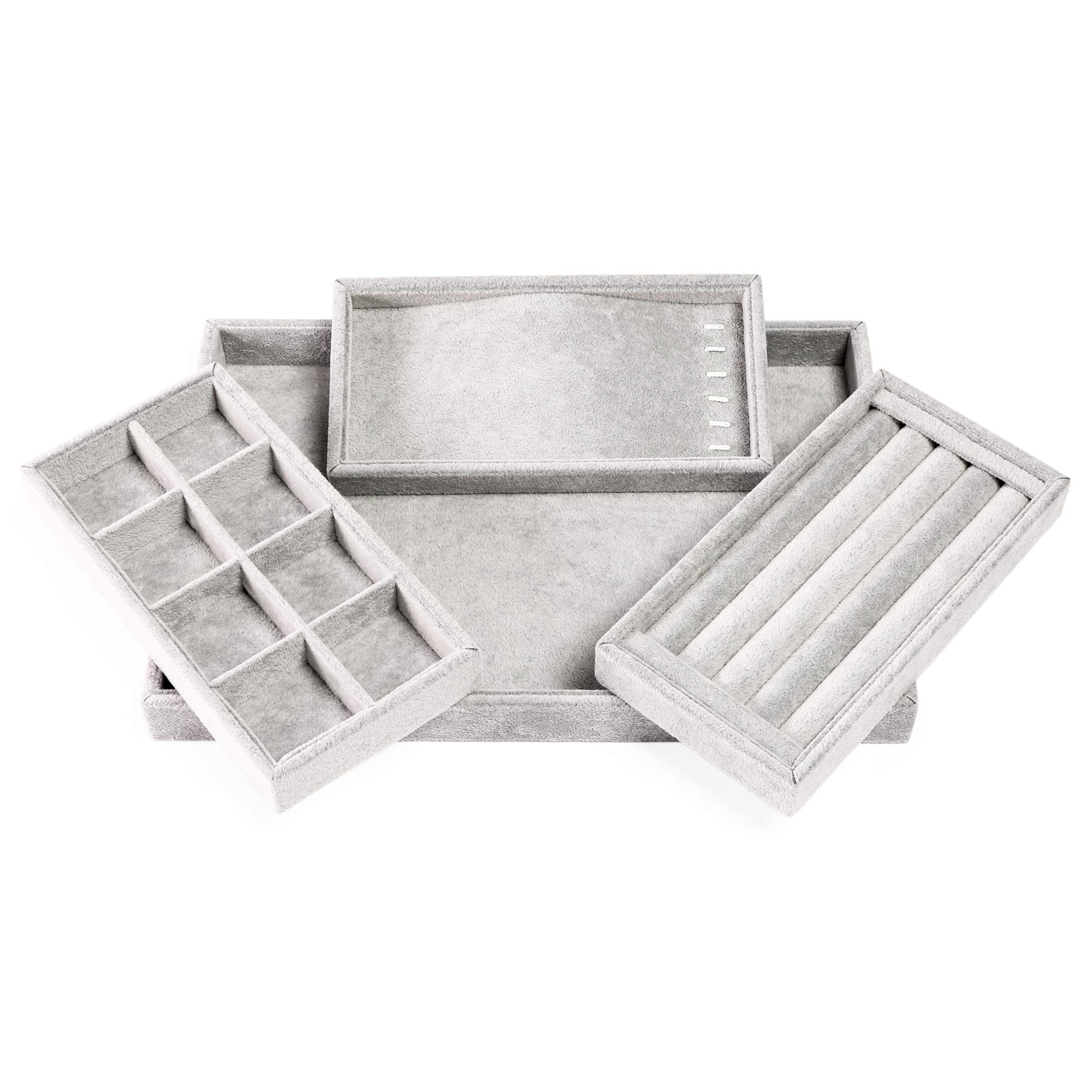 Juvale 4 合 1 可堆叠珠宝托盘抽屉收纳盒(35.56 x 24.13 厘米,灰色,天鹅绒)