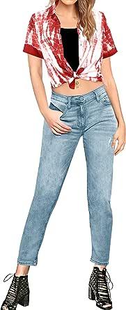LA LEELA 棉质女士沙滩衬衫盖系扣夏威夷衬衫蓝色白色 White_x318 M - US 36-38D