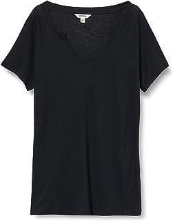 亚马逊品牌:Goodthreads 女士时尚T恤亚麻莫代尔运动衫短袖开叉领 T 恤