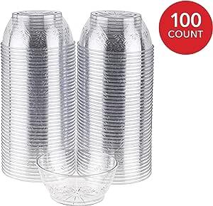 透明塑料甜点杯花朵设计,甜点一次性派对杯,冰淇淋、糖果、莎莎 - 小号菜碗 透明 6 盎司 1160