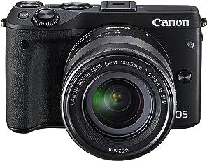 Canon 佳能 EOS M3 微单相机,EF-M 18-55 mm f / 3.5-5.6 STM镜头,黑色