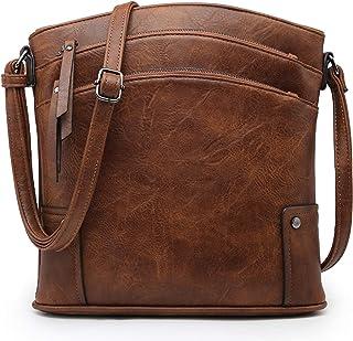 VONMAY 女式大号斜挎包三拉链口袋斜挎包和流苏手提包