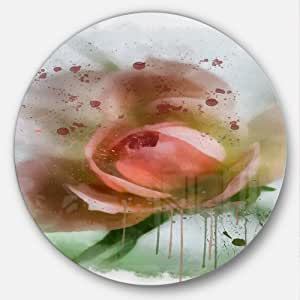 Designart MT13644 C23 绿色背景粉色花朵圆圈墙壁艺术盘,58.42 cm x 58.42 cm,绿色/粉色