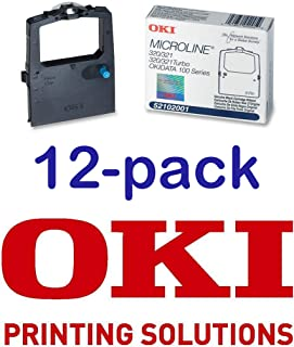 Value Pack of 12 Okidata Black Nylon Ribbon for Microline 320/321 Printers -5/6-Inch x 2 Yards