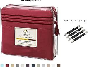Clara Clark Premier 1800 系列 4 件套床单套装 - 深袋套装,超舒适四角套装,可调节床单带吊带固定夹紧固件 酒红色 Queen