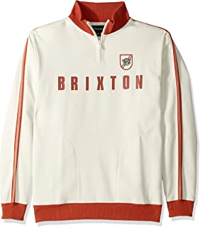 Brixton 男式 Judson 标准修身企领拉链羊毛运动衫, Cloud/Henna Medium