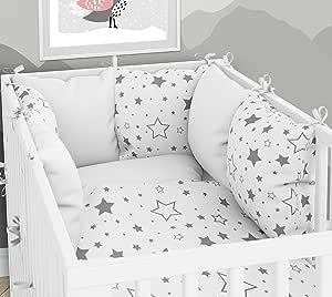 靠垫 - 六个枕头 带套的婴儿床 70 x 140 厘米