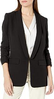 T Tahari 女式 Bria 单扣仿皮领绉纱外套