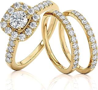 Beverly Hills Jewelers 1.00 克拉总重量 IGI 认证钻石订婚戒指 14 克拉黄金尺寸