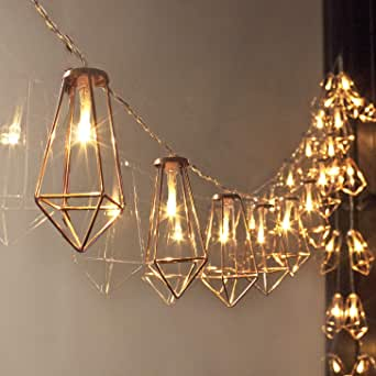LuxLumi 钻石Loft 玫瑰金和线状电池,含柔软白色 20 个 LED 装饰串灯,适用于家庭装饰、派对、新娘和婴儿送礼会、假日和圣诞节 暖白色 10.5FT 43238-44269