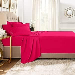 Clara Clark Premier 1800 系列 5 件套床单套装,带额外的枕套 桃红色 两个 XL CC-5pc-Sheets-TXL-hot-pink