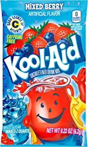 Kool-Aid Flavored Drink Mix, Unsweetened Mixed Berry Twist, 0.22 Ounce Packets (Pack of 192)