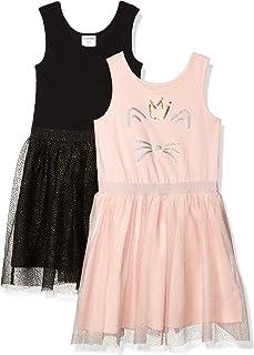 斑点斑马女孩特殊场合连衣裙 2 件装无袖蓬裙