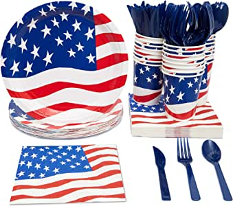 Disposable Dinnerware Set - Serves 24 - - Includes Plastic Knives, Spoons, Forks, Paper Plates, Napkins, Cups, Assorted Colors American Flag