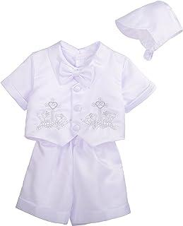Lito Angels 男婴 4 件套短袖和裤子 洗礼 带帽子