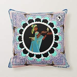 嘻哈母亲女神精美艺术,设计师抱枕 蓝色 18x18