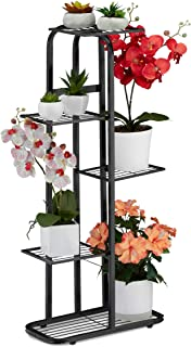 Relaxdays 楼梯金属花架 5 个架子粉末涂层植物搁板 97 x 43.5 x 24.5 厘米,黑色,1 件