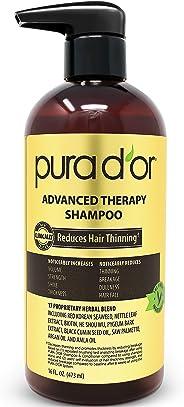 PURA D'OR 洗发水 可减少秀发稀疏并增加发量,无硫酸盐,生物素洗发水注入摩洛哥坚果油和芦荟,适用于所有发质,男女均适用,16盎司(473ml)