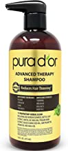 PURA D'OR 洗發水 可減少秀發稀疏并增加發量,無硫酸鹽,生物素洗發水注入摩洛哥堅果油和蘆薈,適用于所有發質,男女均適用,16盎司(473ml)