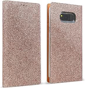 Galaxy S8 PLUS DesignSkin Wetherby Premium Croco [*** HANDMADE GENUINE LEATHER] Textured Pattern Folio Flip Wallet Cover w/ Card Slot Cash Storage Strap Hole Glitter: Rose Gold