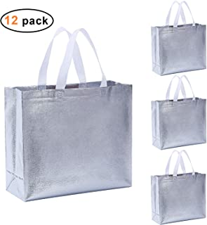 Rumcent Bling 光泽闪耀耐用可重复使用的杂货袋手提袋提手袋,中号无纺时尚礼品袋,礼品袋,购物袋,促销包,手提包,12 件套,银色