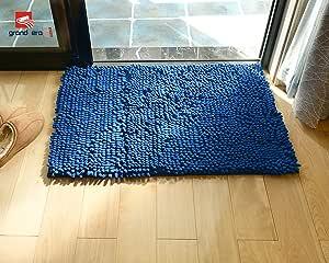 """GRAND ERA 大型 微纤 浴垫 防滑 绳绒浴垫 吸水性淋浴垫 非常适合浴室,*柔软,60.96 厘米 x 88.9 厘米,咖啡色 蓝色 24"""" x 35"""" x 1"""" KYILB60903"""