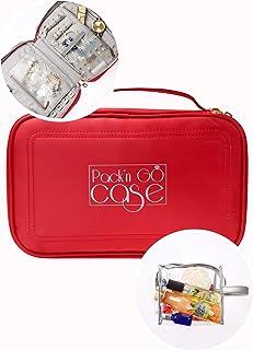 Pack'n Go 旅行首饰盒 - 首饰收纳盒 - 便携式项链手镯耳环收纳盒 女士火红色 带化妆包礼盒