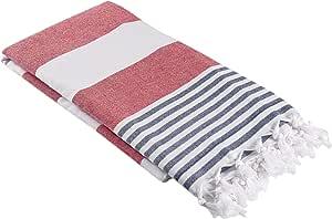 超大土耳其毛巾布毛巾 - 柔软彩色条纹土耳其浴巾,沙滩毛巾,超大码沙丘尔浴巾,航海风格薄浴巾,* 纯棉 Fouta 红色和*蓝 unknown
