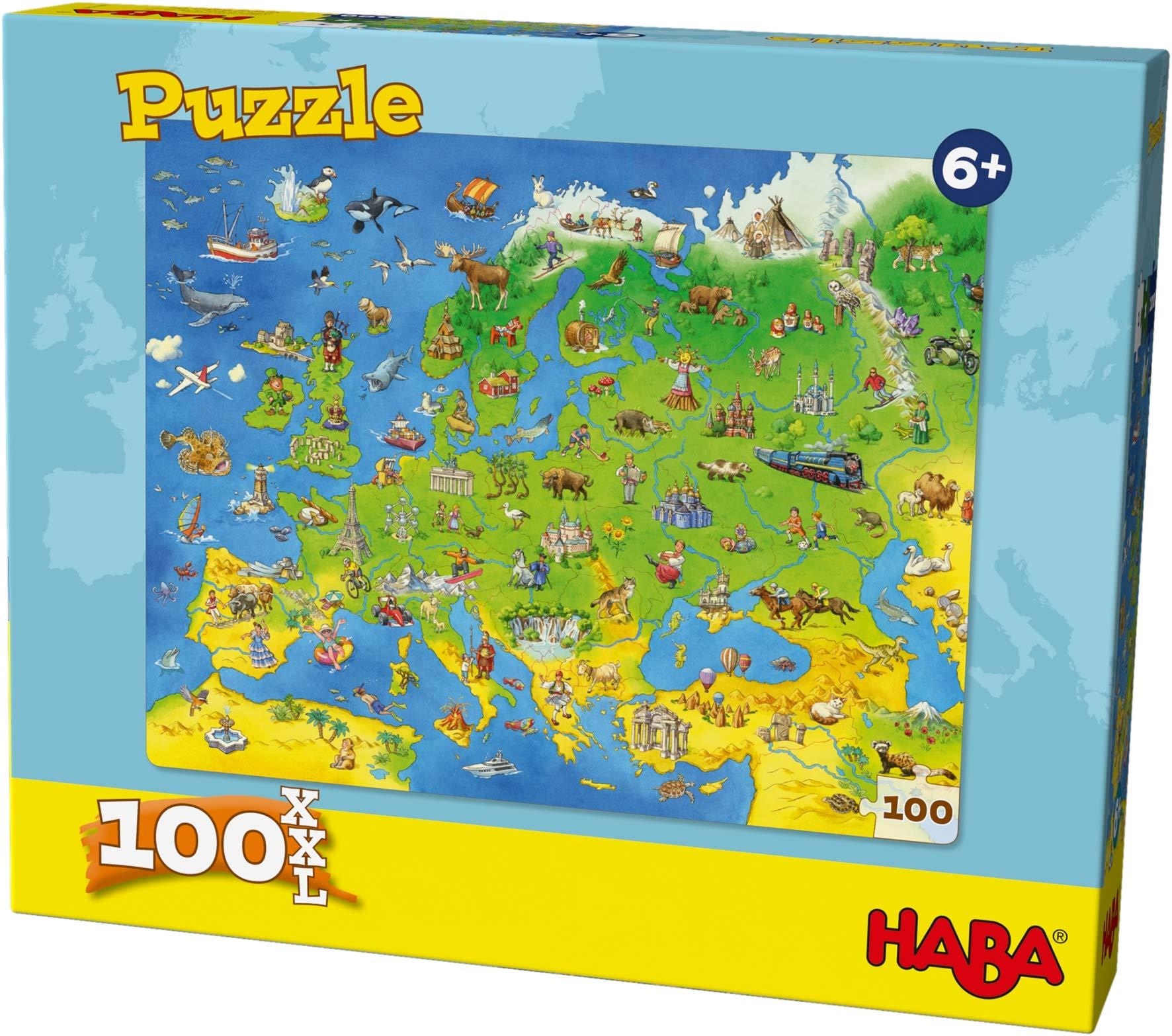 HABA 304220 – 欧洲国家拼图,100块,XXL 格式拼图 带世界地图主题,适用于6岁以上儿童