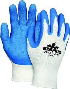 Memphis Glove FlexTuff 棉/涤纶外层男式手套,带乳胶浸渍手掌和指尖,蓝色/白色 X大码 MCR9680XL