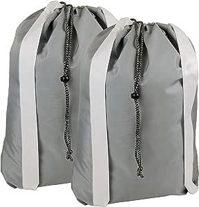 American 洗衣袋天然棉设计洗衣袋双彩虹肩带 加厚 带条锁 非常适合洗衣和存放 55.88 厘米 x 71.12 厘米 Gray (Set of 2)